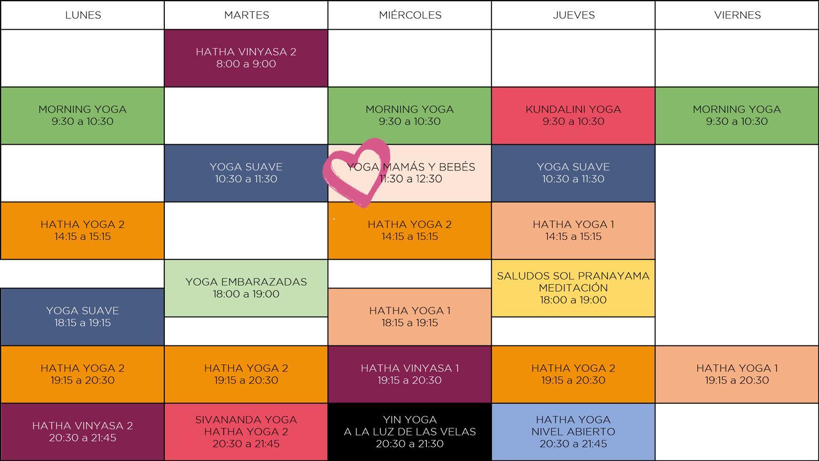 Horarios Espacio de Yoga